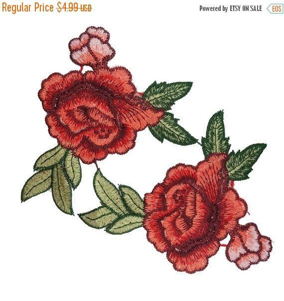 2 Pcs Bleu Brodé Rose Flower Patch Applique Motif à Coudre