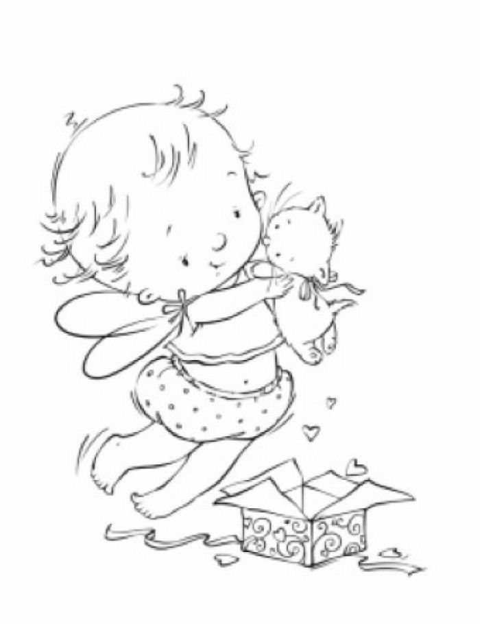 Fairy Baby With Kitten Fairy Coloring Pages Fairy Coloring Art