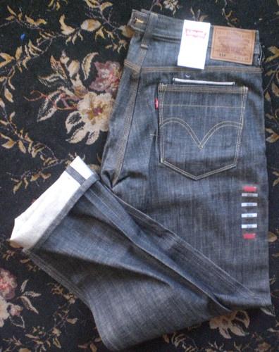 Levi's 514 Slim Straight Redline Selvedge Black Denim Jeans 38 x 34 BNWT
