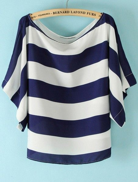 Blue White Striped Loose Batwing Chiffon T-Shirt
