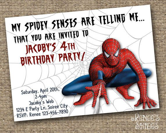46 best party invites images on pinterest birthdays birthday spiderman birthday party invitation stopboris Image collections