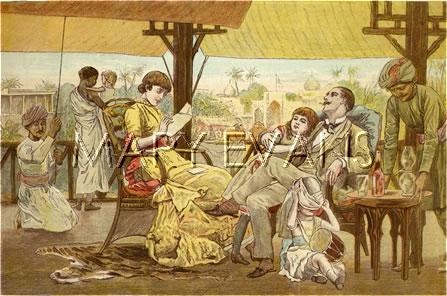 Picture No 10020936 Date 1881 Description CHRISTMAS IN INDIA 1881 Details  British residents in India enjoy Christmas despite the heat Credit © Illustrated London News Ltd/Mary Evans
