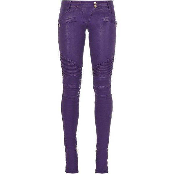Balmain Skinny Leather Biker Trousers ($1,695) ❤ liked on Polyvore featuring pants, balmain, purple, skinny trousers, zip pocket pants, purple skinny pants, balmain pants and low rise leather pants