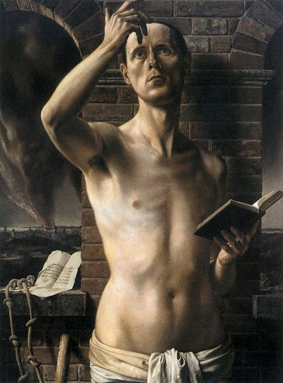 """Albert Carel Willink (1900-1983) was a well known Dutch painter who called his style of Magic realism """"imaginary realism"""".  Self-portrait, 1937"""