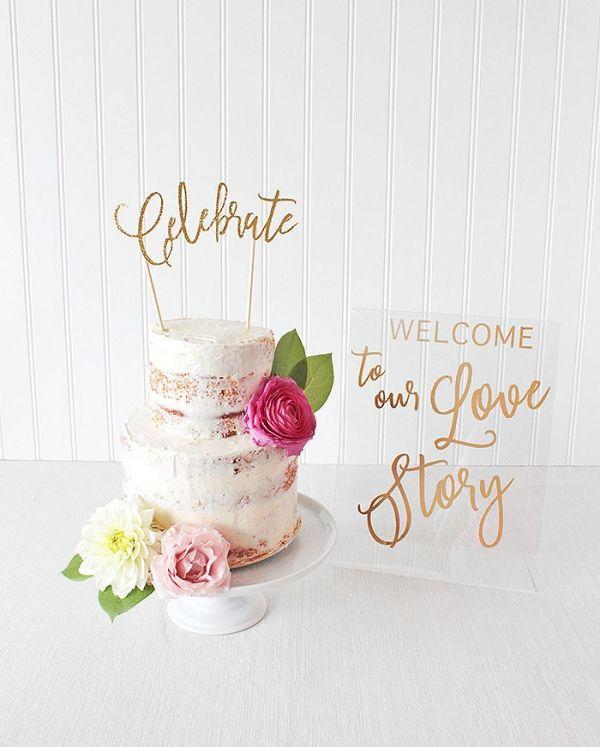 Whimsical Modern Wedding Cake Table with Laser Cut Decor   http://heyweddinglady.com/styling-glitter-glam-engagement-party-cricut-sponsored/