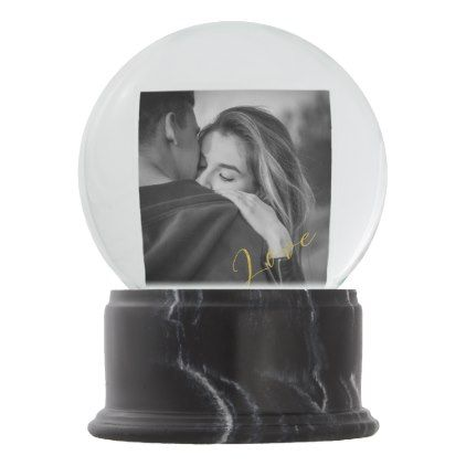 Romantic Golden Lettered Love Photo Globe Custom Snow Globe - photos gifts image diy customize gift idea