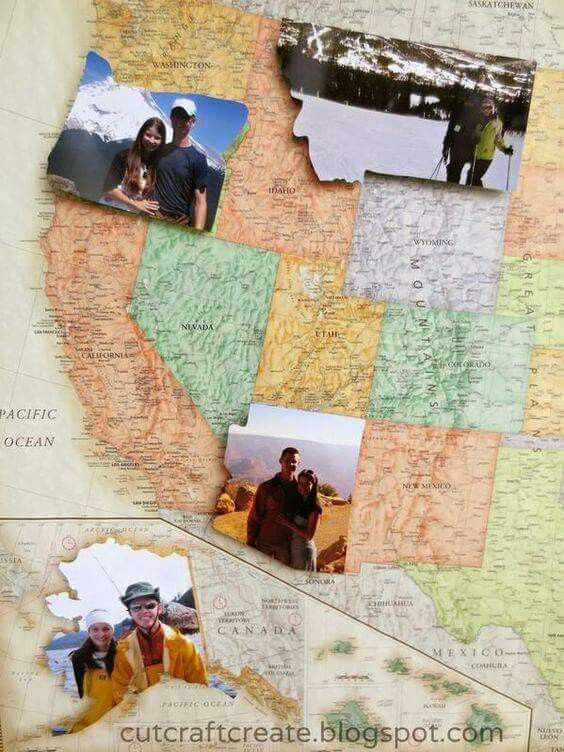 State shaped picture map! 1. Visit state. 2. Take pictures in said state. 3. Cut them out in the shape of said state, and adhere to map.