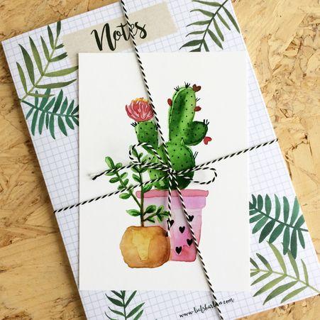 Home - De website van liefskarlijn! Cactus, leaves, notepad, postcard