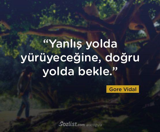 """""""Yanlış yolda yürüyeceğine, doğru yolda bekle."""" #gore #vidal #sözleri #yazar #şair #kitap #şiir #özlü #anlamlı #sözler"""