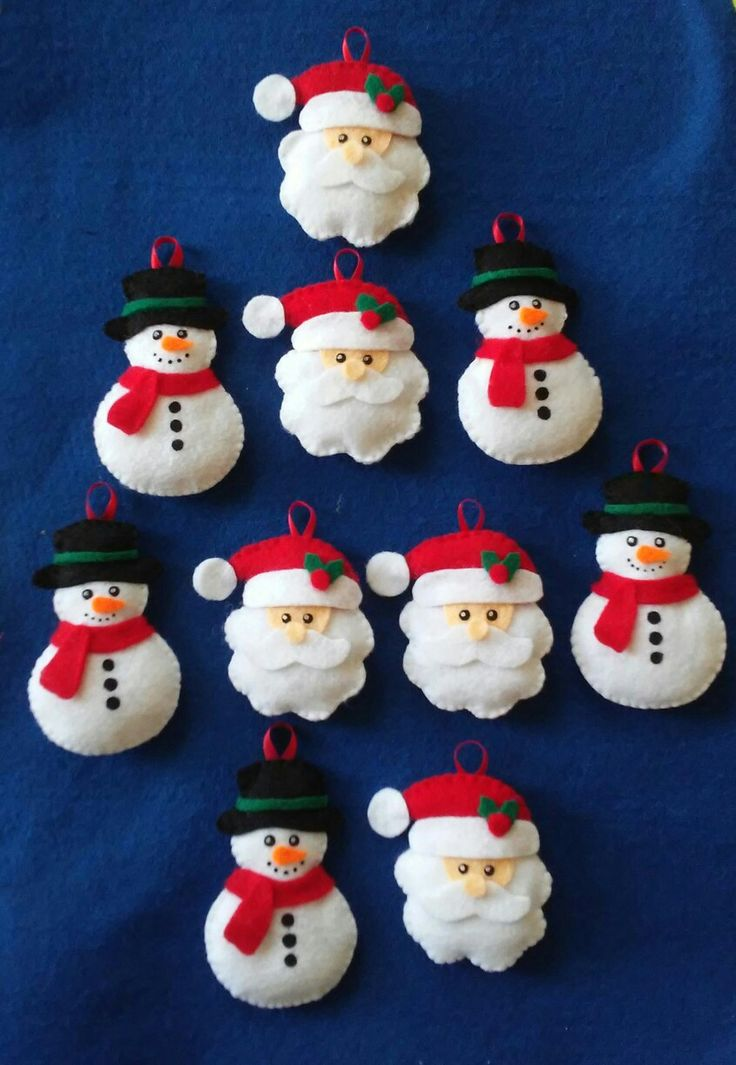 Colgantes para arbolito #navidad #fieltro #santa #muñecodenieve #hiloyaguja