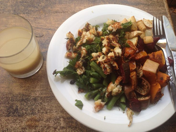 12oz veg Baked:  Pumpkin (with cinnamon) Beetroot (thyme) Parsnip (dill) Eggplant (parsley) Steamed:  Green beans, kale and fresh basil and parsley Black garlic  2oz Goats/Sheeps Halloumi pan fryed in a squeeze of fresh like juice and chopped fresh mint  1tbsp lemon infused olive oil 1 tbsp flaxseed meal in water