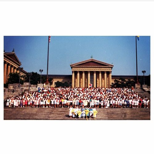 Group photo from Kappa Alpha Theta Grand Convention 1988. The photo was taken outside of the Philadelphia Museum of Art. #Theta1870 #ThetaHistory