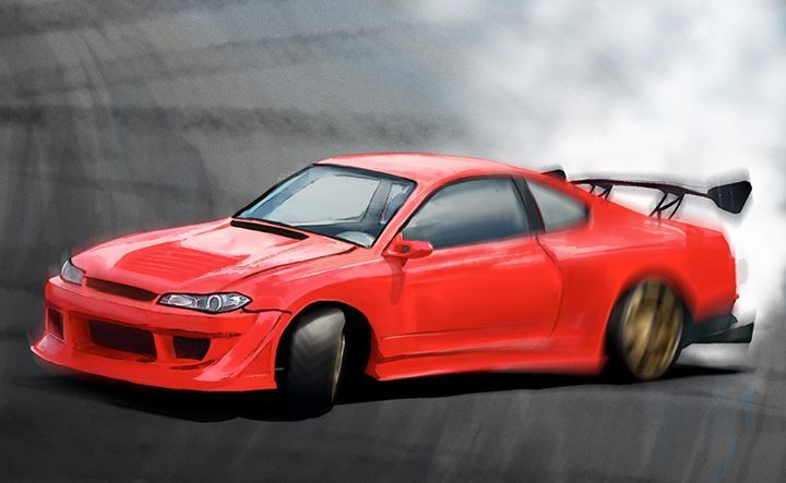 Nissan S15 mid drift, speed painting. +/- 4 hrs