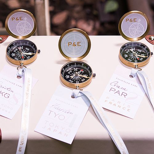 What a fun escort card and favor combination!    Adventurers Compass Travel Themed Favors (Set of 6) (Wedding Star 9463) | Buy at Wedding Favors Unlimited (http://www.weddingfavorsunlimited.com/adventurers_compass_favor_set_of_6.html).