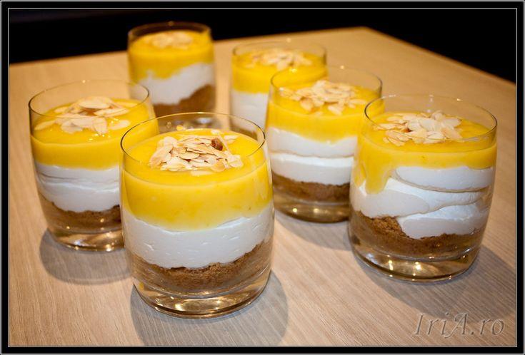 cheesecake fara coacere cu crema de lamaie la pahar