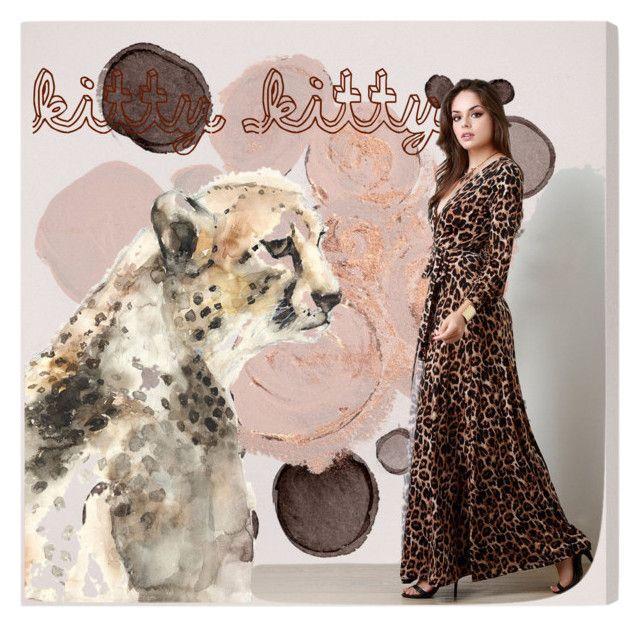 """Kitty Kitty"" by rurustarr on Polyvore featuring Oliver Gal Artist Co., Leftbank Art, leopard, cheetah, safari, cat and animalprint"