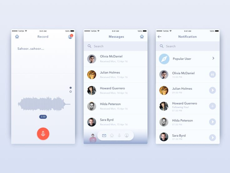 Voice Messaging App - Record Voice by Anggit Yuniar Pradito #Design Popular #Dribbble #shots