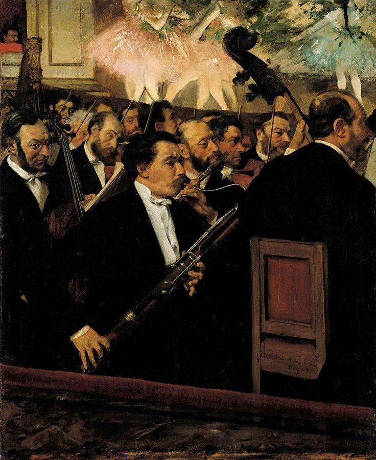 E. Degas, L'orchestra dell'Opéra, 1868, Parigi, Musée d'Orsay. L'insolita inquadratura, che sembra ricordare quelle quasi casuali di certe fotografie, è innovativa e funzionale all'esaltazione dei primi piani. E' anche la prima opera in cui Degas dipinge un balletto.