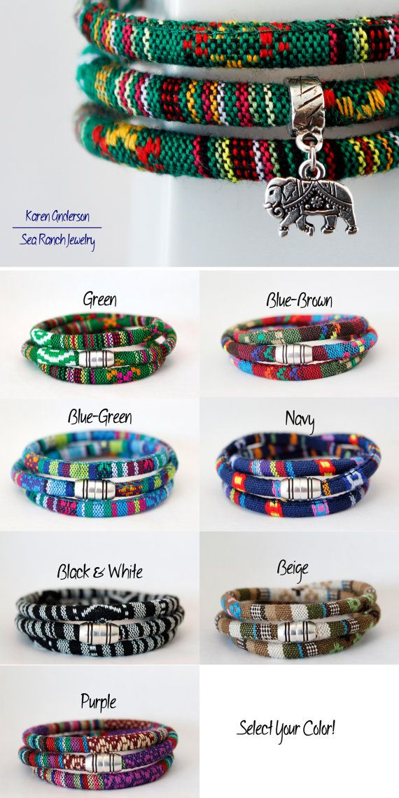 Item ships internationally! Wrap yourself with this #tribal #rasta #elephant #charm bracelet by Sea Ranch Jewelry. Triple wrap #bracelet in #woven #cotton cord. #Vegan #jewelry #giftideas #forher
