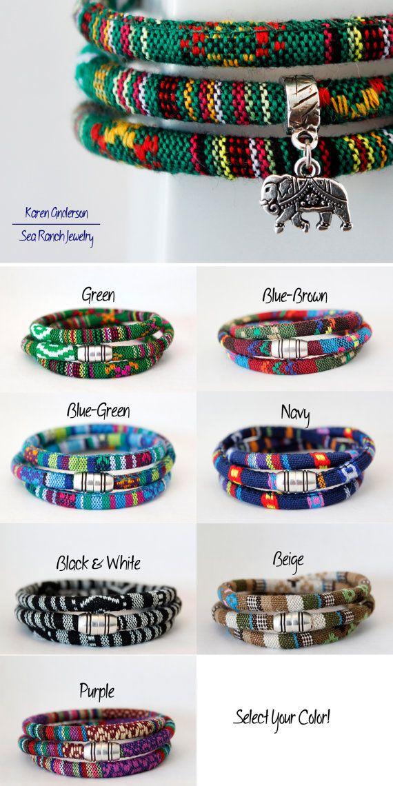 Item ships internationally! Wrap yourself with this #tribal #rasta #elephant #charm bracelet by Sea Ranch Jewelry. Triple wrap #bracelet in #woven #cotton cord. #Vegan #jewelry #giftideas #forher