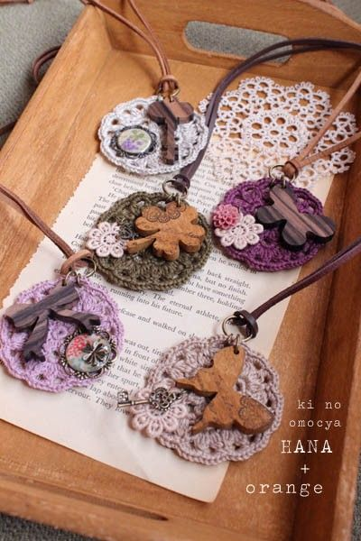 wood charm and crochet motif accessories by meee orange