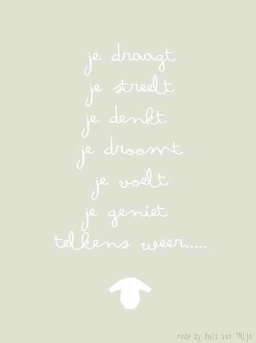 """Kaart, woorden, baby, zwanger, design made by Huis van """"Mijn"""""""