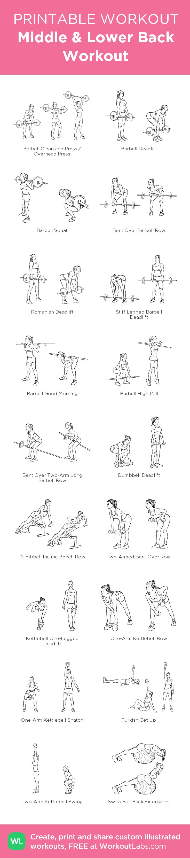Middle & Lower Back Workout:my visual workout created at WorkoutLabs.com • Click through to customize and download as a FREE PDF! #customworkout