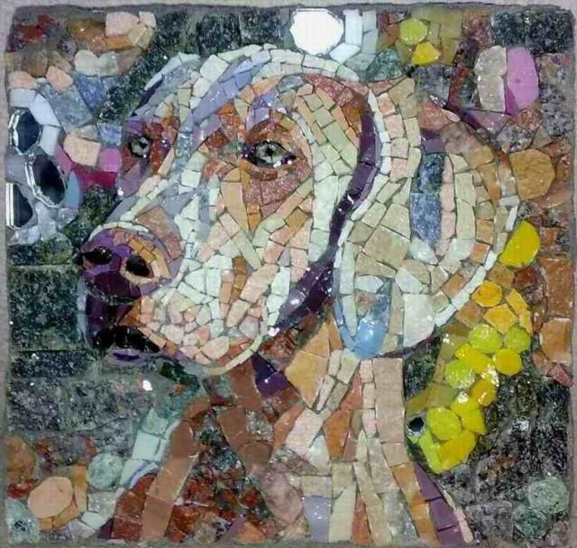 mosaic by vojna bastovanovic  Weim!!! Check out Sam Bertie's dog art board - for more amazing dog art pins!