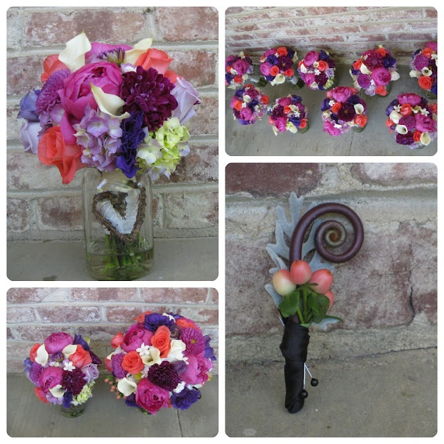 Purple & Coral wedding  also center piece. with saying inside