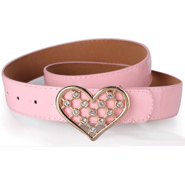 Pink Pu Heart Rhinestone Decor Wide Belt ($6.99) ❤ liked on Polyvore featuring accessories, belts, pink, sparkly belt, wide rhinestone belt, snap belt, adjustable belt and wide belt