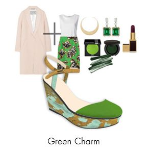 """this season's """"it-coat"""" paired with PS green charm wedges. featuring genuine leather, pony hair and metallic leather for straps"""