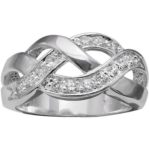 Primrose Cubic Zirconia Sterling Silver Braided Ring ($20) ❤ liked on Polyvore featuring jewelry, rings, grey, cubic zirconia rings, sterling silver pave ring, woven ring, pave ring and cz jewellery