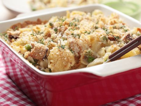 Homemade tuna noodle casserole. Can be made slightly healthier using skim milk and whole wheat pasta.
