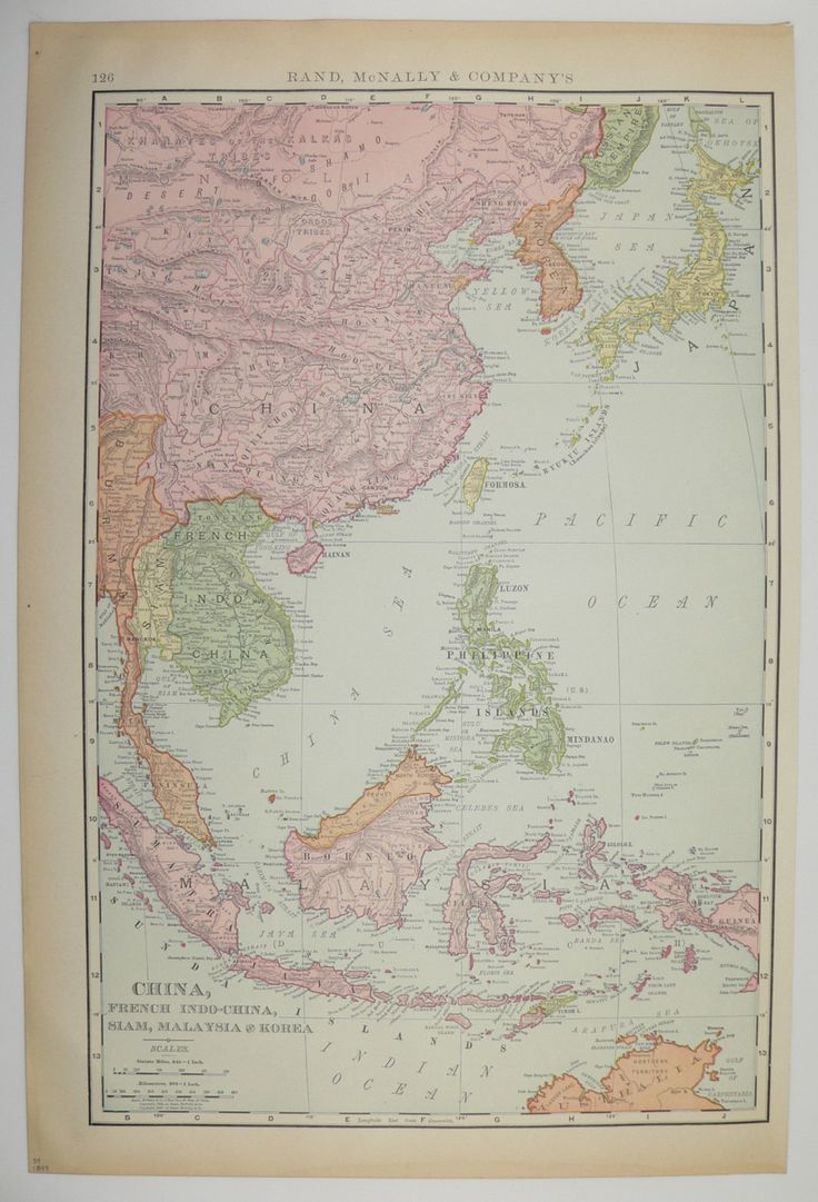 China Map Malaysia Korea Map Vietnam 1899