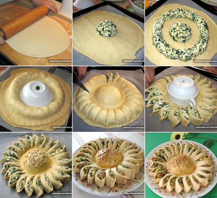 Enjoy This Spinach and Cheese Sunflower. Tarta de espinaca en forma de girasol, perfecta para agregar unas cuantas semillas de girasol en el centro como decoración.
