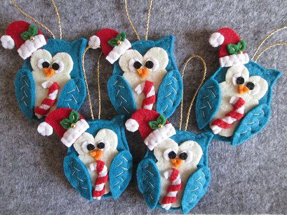 Christmas ornaments Gufo Natalizio in feltro  Decori per Albero di di TinyFeltHeart