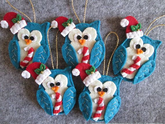 Ornament Christmas Ornament Felt Owl ornament by TinyFeltHeart