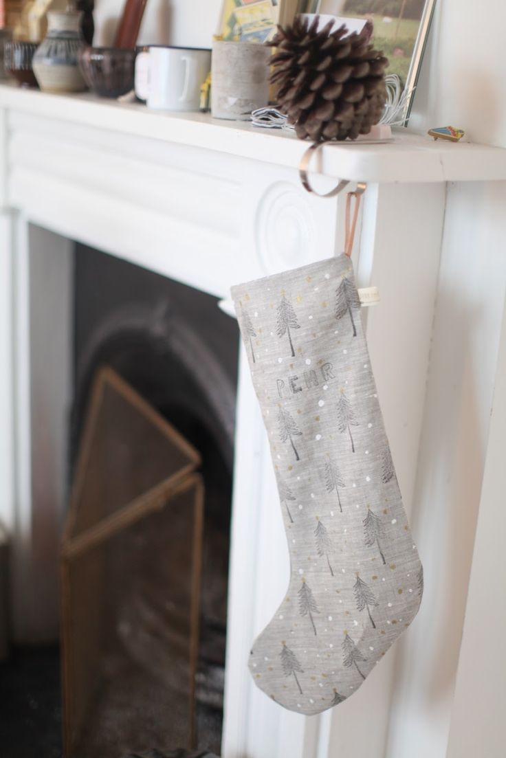 hand printed linen xmas stockings