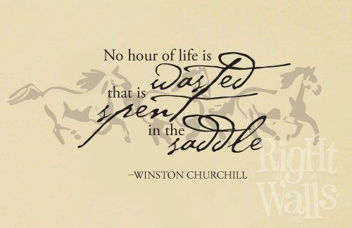 """No hour of life is wasted that is spent in the saddle.""- Winston Churchill"