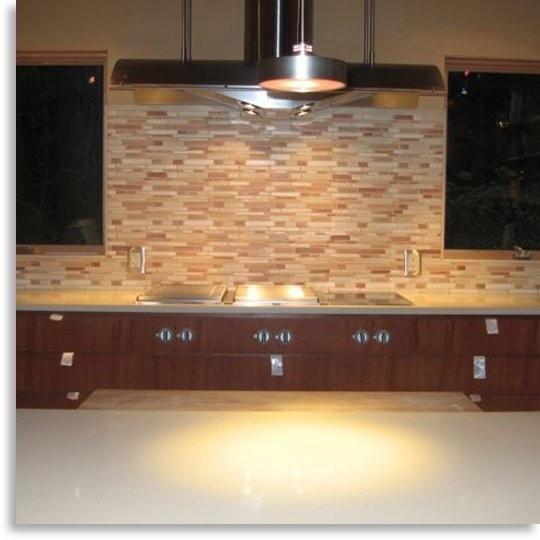Black And Cream Kitchen Tiles: Kitchen Backsplash, Elongated, Linear Mosaic Tile Mix