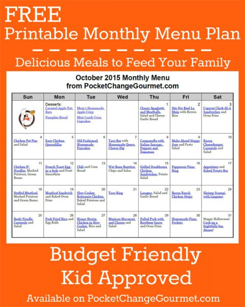 Delicious meals to feed your family in the Printable ...