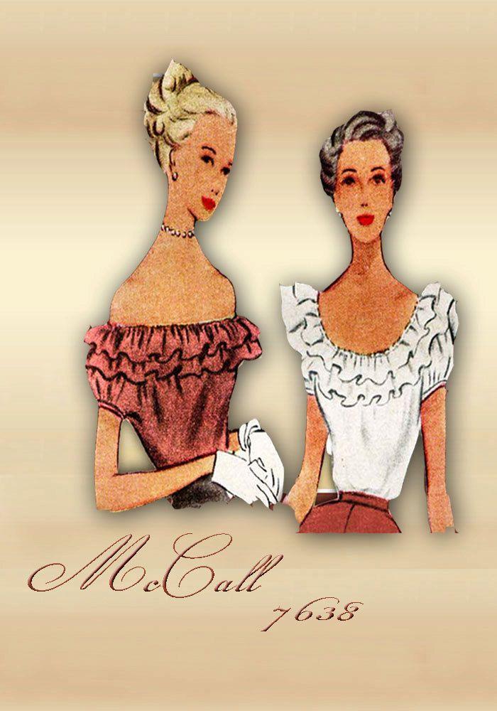 McCall 7638 1940s blusa con escote drapeado  Aquí es una blusa con ese Ouu-La-La factor---o Hubba Hubba--la frase de moda en la década de 1940 cuando algo o alguien muy llamó la atención de un chico  La blusa tiene un escote bajo.  Una opción sólo agrega un bies en el borde del cuello. La segunda opción agrega filas de volantes que pueden llevarse al hombro si así lo desea.  Las mangas son cortas con bies en los bordes.  Tamaño 14 32---26.5---35 Imprimir patrón---corte---completo Alrededor…