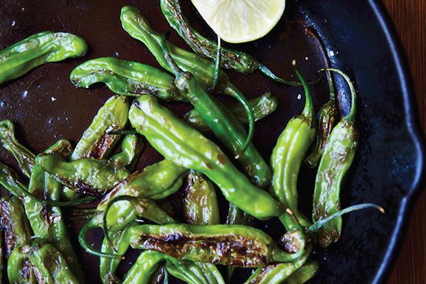 Sautéed Shishito Peppers by epicurious: 'Shishito Peppers are enormously delicious and a bit daring, couldn't be simpler to prepare, are famously finger-friendly, and make perfect appetizers...' http://www.traderjoes.com/digin/post/shishito-peppers #Peppers #Shishito