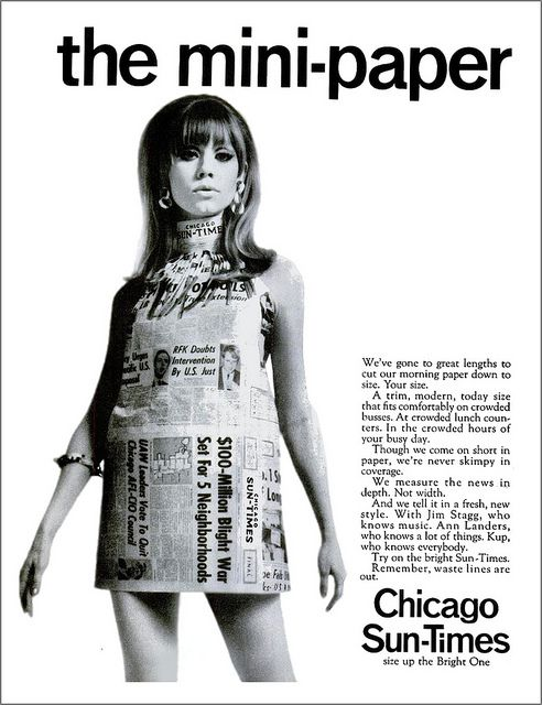 vintage everyday: The 60s' Paper Dresses Paper dresses became a easy throwaway style. This was seen in the 60s but was very short lived. It was used for publicity for Scott Paper Company
