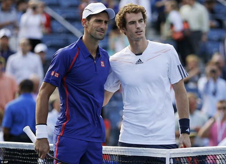 Serbia's Novak Djokovic, left, and Britain's Andy Murray pose for a photo before the final started