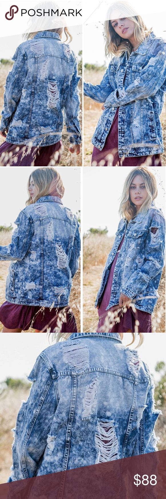 """Distressed Jean Jacket ❕COMING THIS SEPTEMBER❕ Distressed blue denim jean jacket. Side buttons, button cuffs, loose fit. 🔸This is not Free People, but is very close to the style.   * Before asking, please note whatever sizes are listed below are all I currently have in stock.   ▫️Add to Bundle"""" to add more items in my closet or """"Buy"""" to checkout here with your size.  ↓Follow me on Instagram ↓         @ love.jen.marie Free People Jackets & Coats Jean Jackets"""