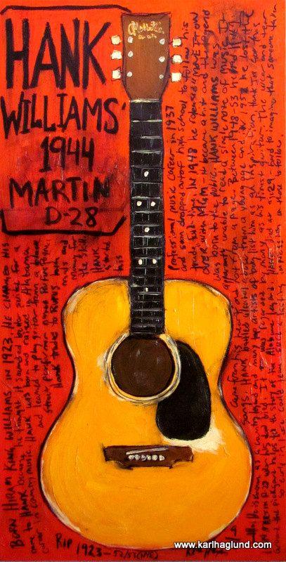 Hank Williams 1944 Martin D28 acoustic guitar by KarlHaglundArt