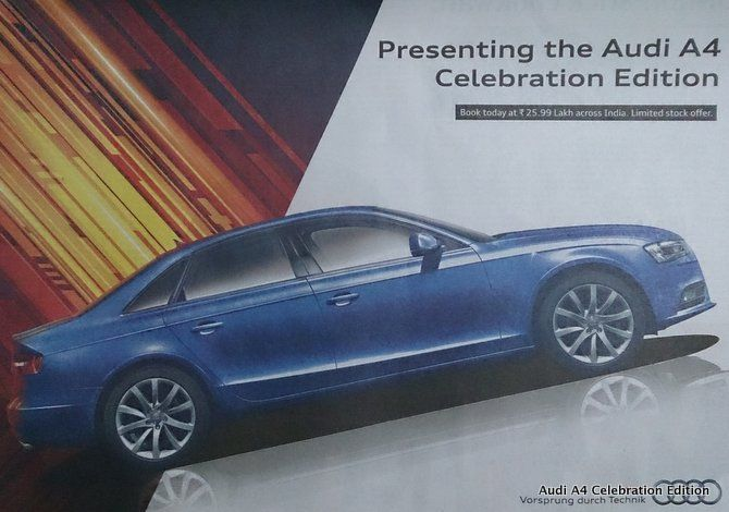Audi India Launches Feature Less A4 Celebration Edition Rs 25 99 Lakh Read More At Http Www Rushlane Com Audi