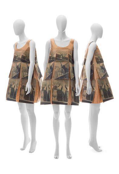 "Yeohlee Teng ~ ""Shamanistic Printed Prayer Flag Dress of Brown Kraft Paper"" via Designers - Folk Couture: Fashion and Folk Art - AFAM (Jan-Apr 2014)   Yeohlee.com"