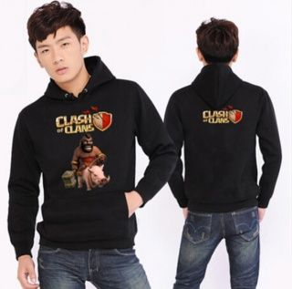 COC game black pullover hoodie for men Clash of Clans Hog Rider printed